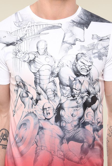 Yepme Avengers Pencil Art White Graphic Printed T Shirt