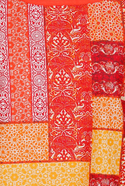 Aurelia Orange Printed Square Neck Kurta