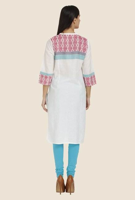 Aurelia White Printed Band Neck Kurta