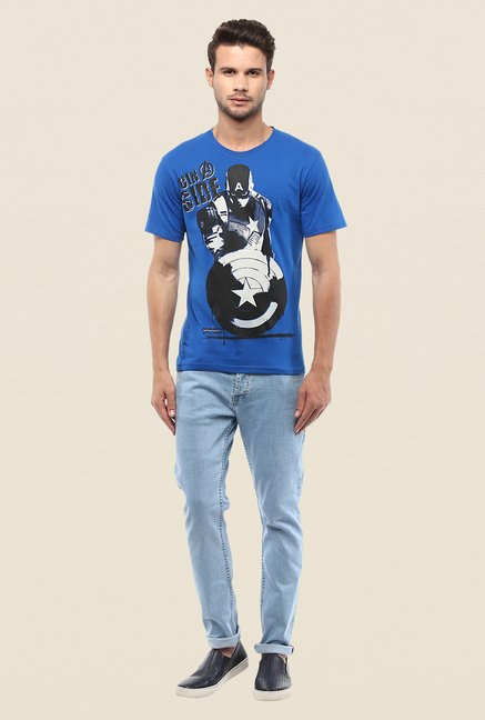 Yepme Marvel Civil War Blue Graphic Printed T Shirt