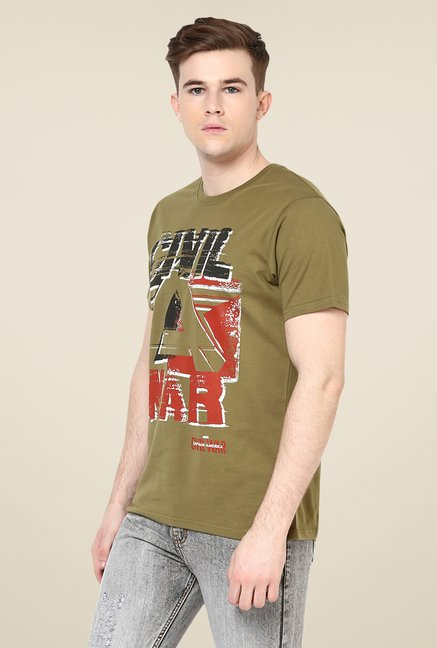 Yepme Marvel Civil War Olive Graphic Printed T Shirt