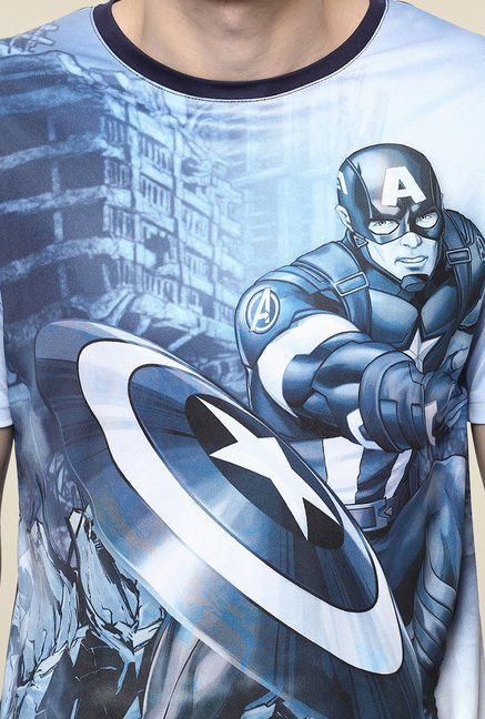 Yepme Captain America In Forgotten City Blue Printed T Shirt