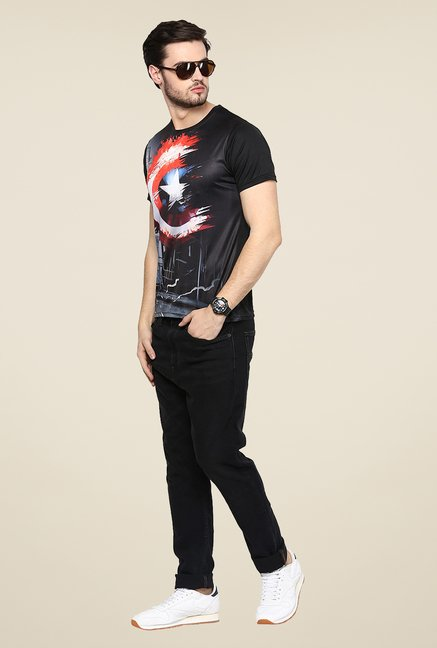 Yepme Captain America Shield Fadeout Black Printed T Shirt