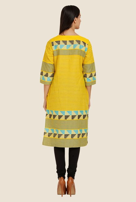 Aurelia Yellow Printed Square Neck Kurta