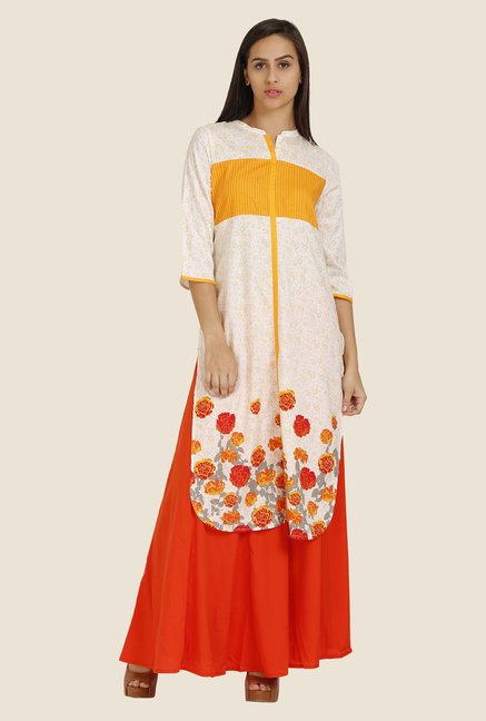 Aurelia Orange & Off-White Floral Print Kurta