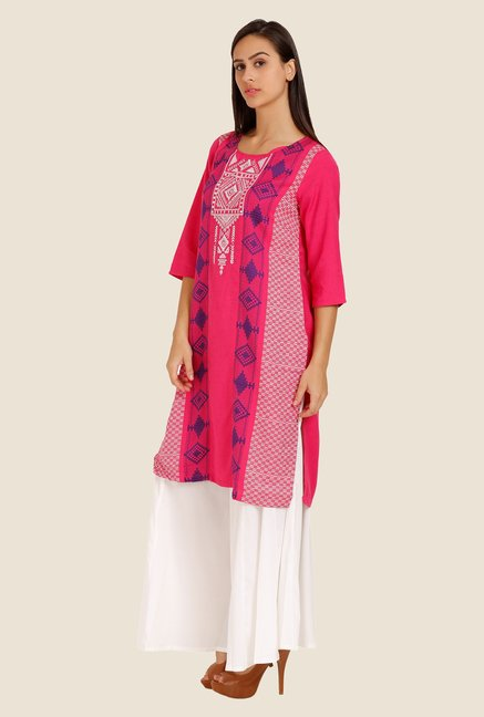 Aurelia Pink Embroidered Kurta