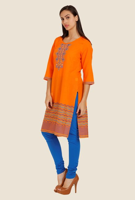 Aurelia Orange Embroidered Kurta