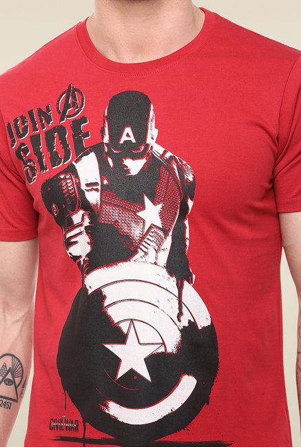 Yepme Marvel Civil War Red Graphic Printed T Shirt