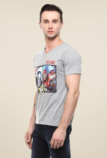 Yepme Marvel Civil War Grey Graphic Printed V neck T Shirt