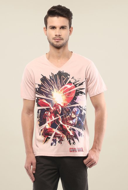 Yepme Marvel Civil War Pink Graphic Printed Cotton T Shirt