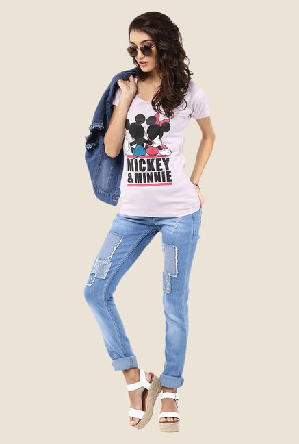 Yepme Marvel & Disney Lavender Graphic Printed Tee