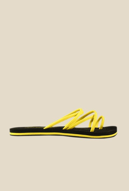 Solethreads Grazia Yellow & Black Flip Flops