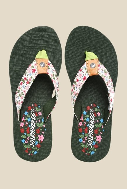 Solethreads Autumn White & Olive Flip Flops