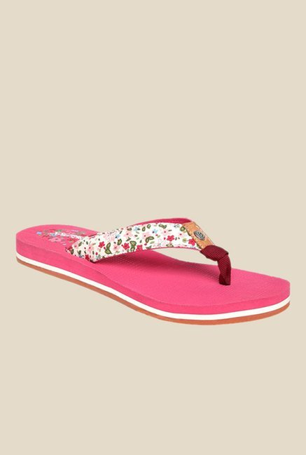 Solethreads Autumn White & Pink Flip Flops