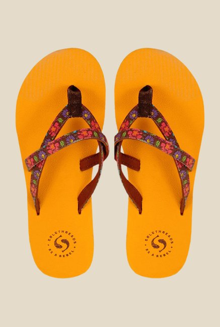 Solethreads Crimson Burgundy & Orange Flip Flops