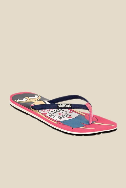 Solethreads Fighter Navy & Pink Flip Flops