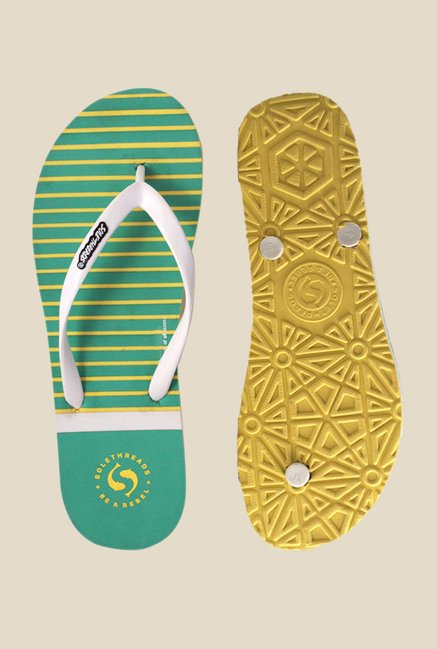Solethreads Nautica White & Mint Green Flip Flops