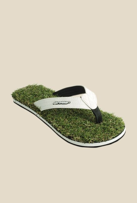 Solethreads Grass Fab White & Green Flip Flops