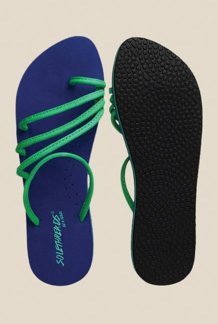 Solethreads Olivia Green & Royal Blue Flip Flops