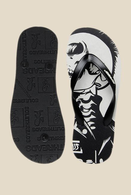 Solethreads Eagle Skull Black & Light Grey Flip Flops