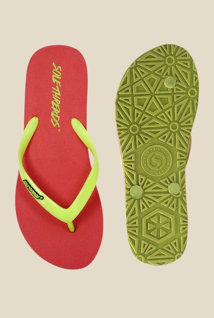 Solethreads St Basic Green & Peach Flip Flops