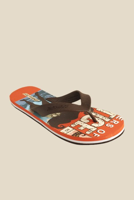 Solethreads Justice Brown & Rust Orange Flip Flops