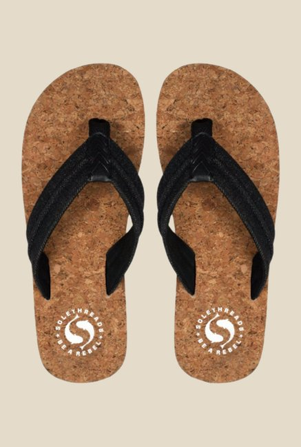 Solethreads Cork Black Flip Flops
