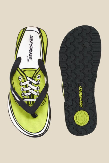 Solethreads Black & Lime Green Flip Flops