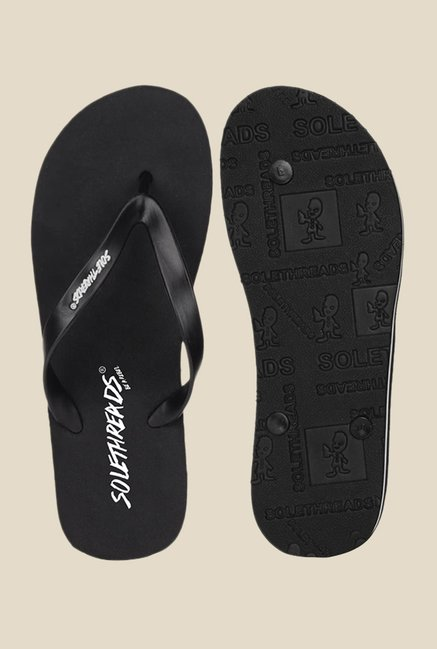 Solethreads St Basic Black Flip Flops