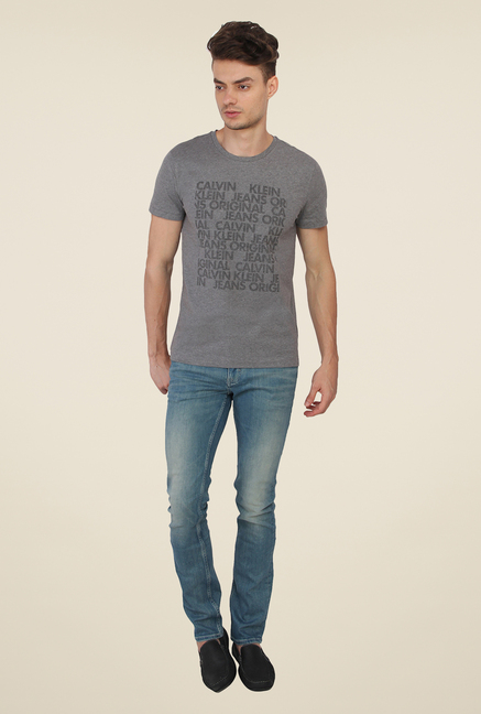 Calvin Klein Grey Graphic Print T-Shirt