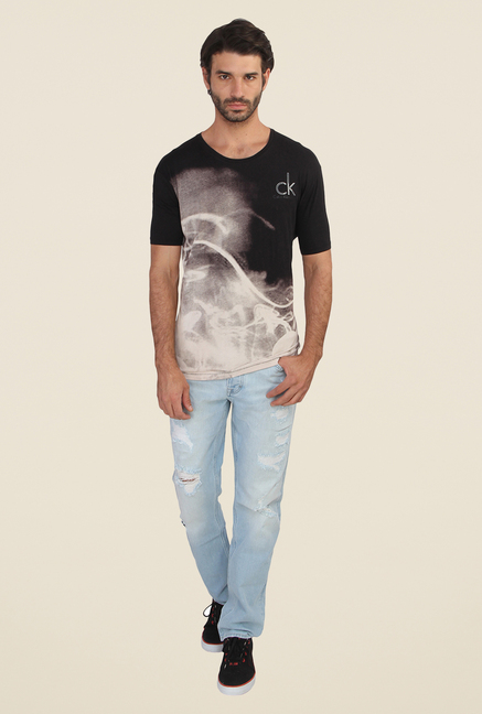 Calvin Klein Black Printed Round Neck T Shirt