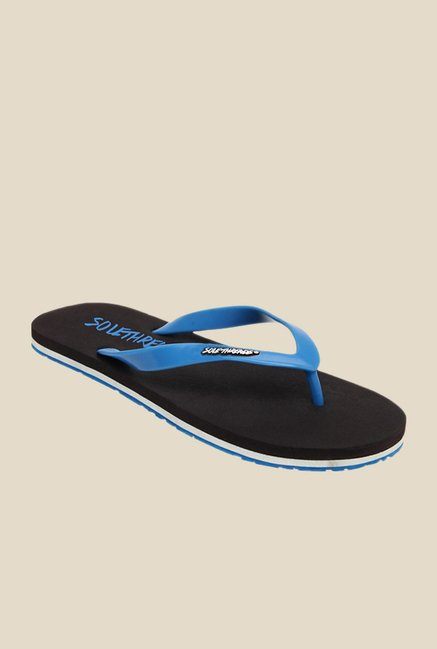 Solethreads St Basic Aqua Blue & Black Flip Flops