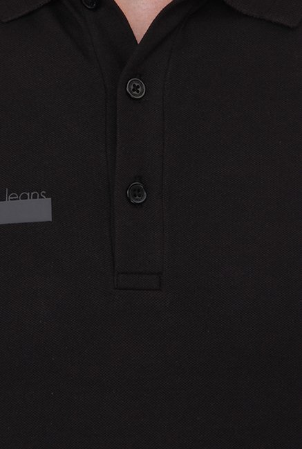 Calvin Klein Black Solid Polo T-Shirt