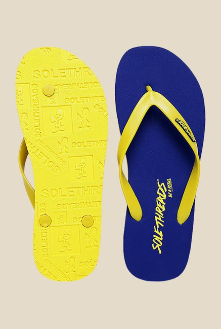 Solethreads St Basic Yellow & Royal Blue Flip Flops