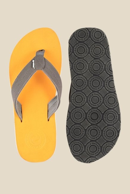 Solethreads Swoosh Grey & Rust Orange Flip Flops