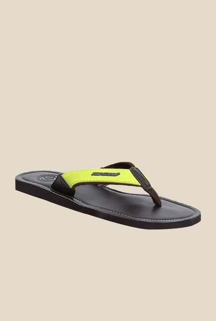 Solethreads Urbane Lime Green & Brown Flip Flops