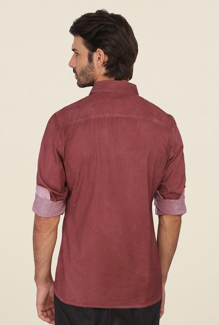 Calvin Klein Maroon Striped Shirt