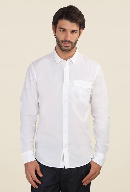 Calvin Klein White Solid Full Sleeve Shirt
