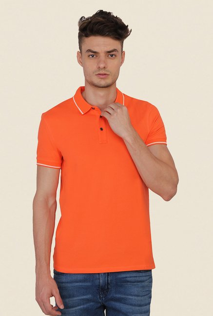 Calvin Klein Orange Solid Polo T-Shirt