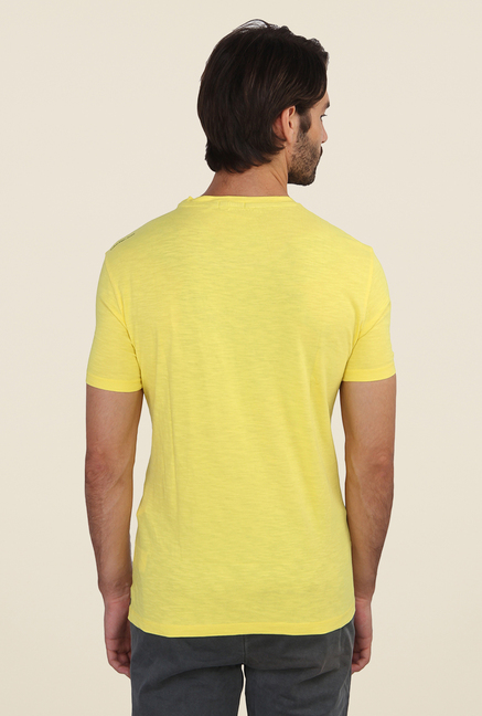 Calvin Klein Yellow Printed Half Sleeve T Shirt