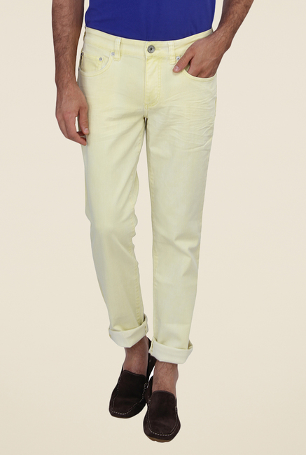 Calvin Klein Yellow Solid Jeans