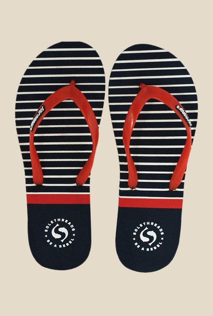 Solethreads Nautica Red & Navy Flip Flops