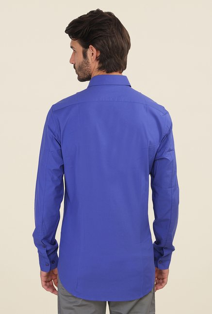 Calvin Klein Blue Solid Full Sleeve Shirt