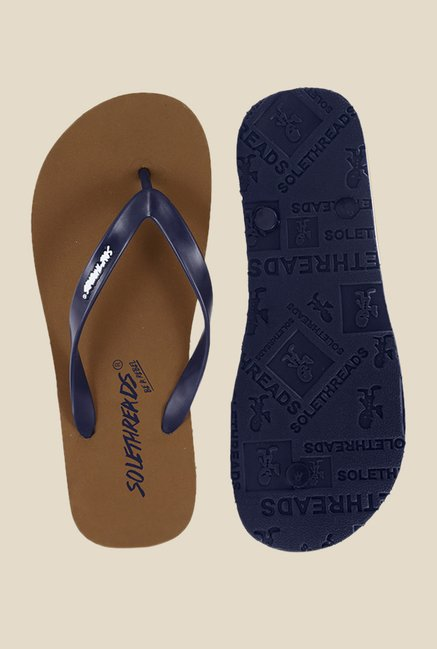 Solethreads St Basic Navy & Tan Flip Flops