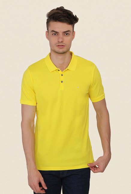 Calvin Klein Yellow Solid Polo T-Shirt