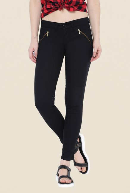 Kraus Black Ankle Length Denim Jeans