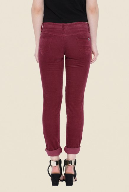 Kraus Maroon Rinse Washed Jeans