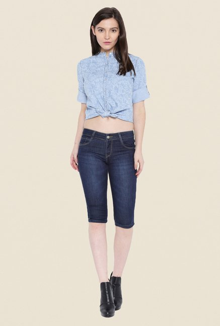 Kraus Blue Skinny Fit Denim Capris