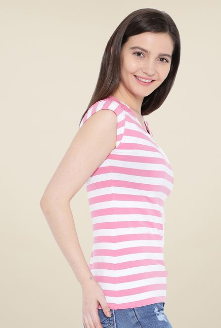 Kraus Pink & White Striped T-Shirt