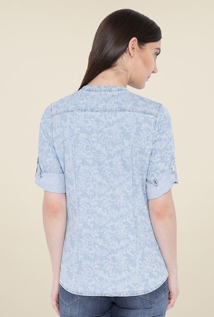 Kraus Light Blue Floral Print Shirt